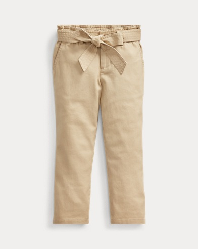 폴로 랄프로렌 Polo Ralph Lauren Belted Cotton Paperbag Pant,Classic Khaki