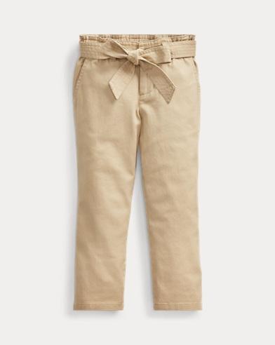폴로 랄프로렌 여아용 바지 Polo Ralph Lauren Belted Cotton Paperbag Pant,Classic Khaki