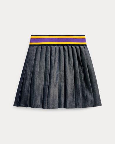 폴로 랄프로렌 Polo Ralph Lauren Pleated Cotton-Blend Skirt,Indigo