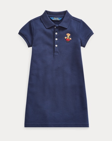 폴로 랄프로렌 여아용 원피스 Polo Ralph Lauren School Bear Mesh Polo Dress,French Navy