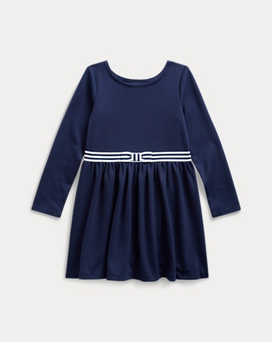 폴로 랄프로렌 여아용 원피스 Polo Ralph Lauren Bow Ponte Fit-and-Flare Dress,French Navy