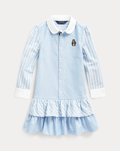 폴로 랄프로렌 여아용 원피스 Polo Ralph Lauren Bear Striped Cotton Shirtdress,Blue Multi