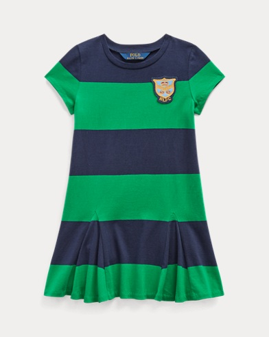 폴로 랄프로렌 여아용 원피스 Polo Ralph Lauren Striped Cotton Jersey Dress,Green-french Navy