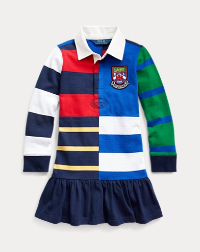 폴로 랄프로렌 여아용 럭비 원피스 Polo Ralph Lauren Striped Cotton Rugby Dress,French Navy Multi