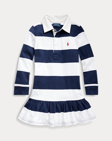 폴로 랄프로렌 여아용 럭비 원피스 Polo Ralph Lauren Striped Cotton Rugby Dress,White/French Navy