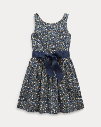 폴로 랄프로렌 여아용 원피스 Polo Ralph Lauren Floral Cotton Poplin Dress,Navy Floral