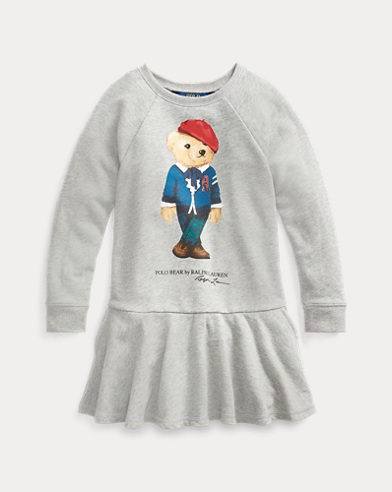폴로 랄프로렌 여아용 원피스 Polo Ralph Lauren Cardigan Bear Terry Dress,Lt Grey Heather
