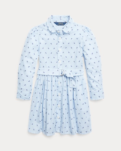 폴로 랄프로렌 여아용  셔츠원피스 Polo Ralph Lauren Anchor Cotton Shirtdress,Blue White
