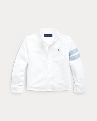 폴로 랄프로렌 Polo Ralph Lauren Graphic Cropped Cotton Oxford,Bsr White