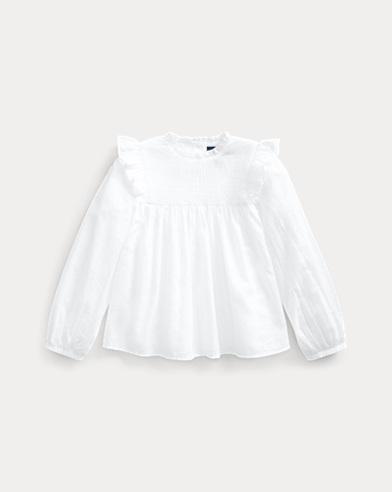 폴로 랄프로렌 Polo Ralph Lauren Smocked Cotton Batiste Top,White