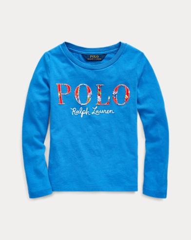 폴로 랄프로렌 Polo Ralph Lauren Floral-Logo Cotton Jersey Tee,Colby Blue
