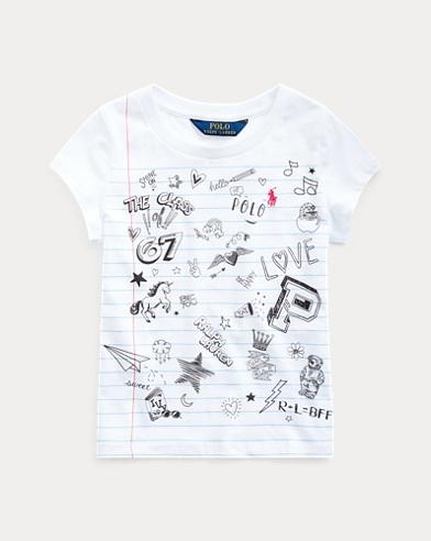 폴로 랄프로렌 여아용 티셔츠 Polo Ralph Lauren Cotton Jersey Graphic Tee,White