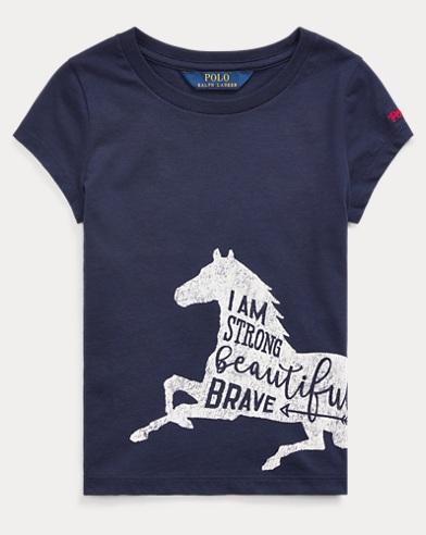 폴로 랄프로렌 여아용 티셔츠 Polo Ralph Lauren Cotton Jersey Graphic Tee,French Navy