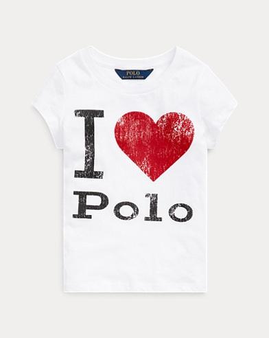 폴로 랄프로렌 여아용 티셔츠 Polo Ralph Lauren Cotton Jersey Graphic Tee,White-red
