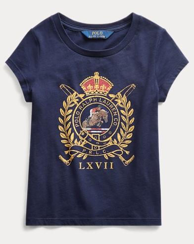 폴로 랄프로렌 여아용 티셔츠 Polo Ralph Lauren Horse Crest Cotton Jersey Tee,French Navy