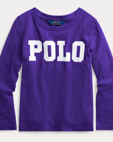 폴로 랄프로렌 Polo Ralph Lauren Logo Cotton Long-Sleeve Tee,Purple Rage
