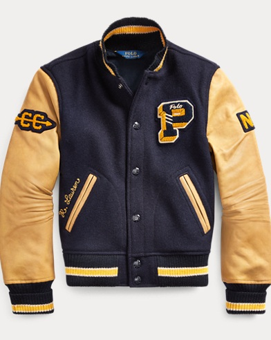폴로 랄프로렌 걸즈 자켓 Polo Ralph Lauren Wool-Leather Letterman Jacket,White