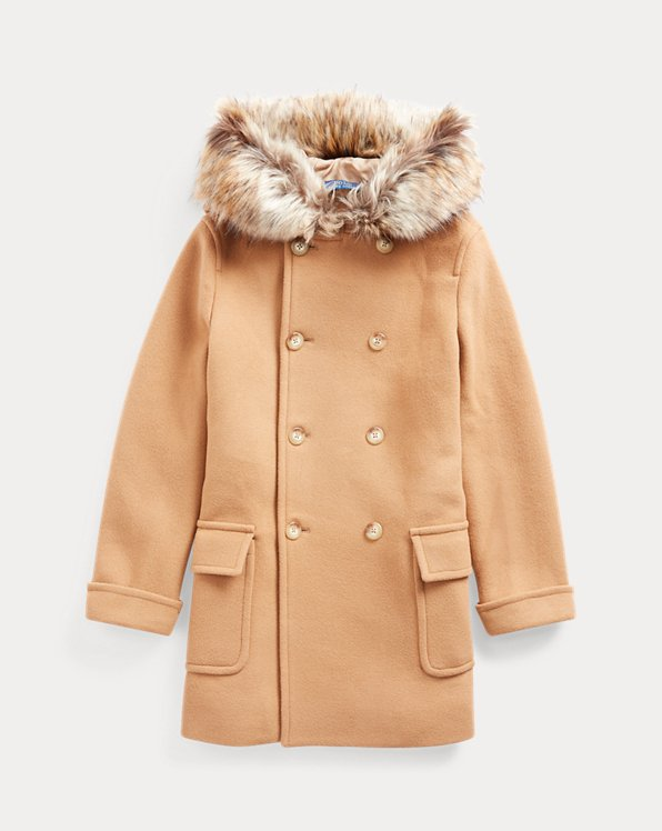 폴로 랄프로렌 걸즈 코트 Polo Ralph Lauren Faux Fur-Trim Wool-Blend Coat,Camel