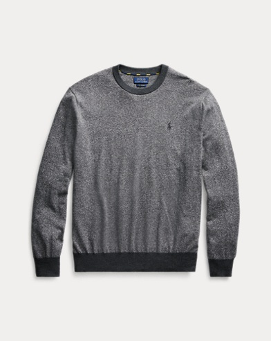폴로 랄프로렌 맨 코튼 투톤 스웨터 Polo Ralph Lauren Marled Cotton Crewneck Sweater,Black/White Ragg