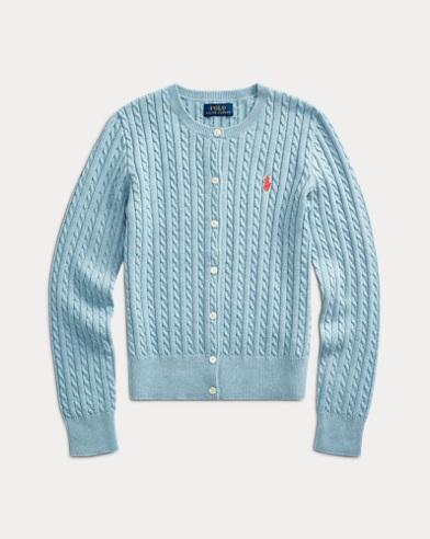 폴로 랄프로렌 걸즈 꽈배기 코튼 가디건 - 모던 블루 Polo Ralph Lauren Cable-Knit Cotton Cardigan