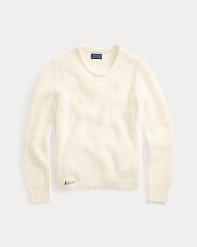 폴로 랄프로렌 걸즈 롤넥 코튼 스웨터 - 크림 Polo Ralph Lauren Rollneck Cotton Sweater