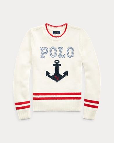 폴로 랄프로렌 걸즈 앵커 자수 코튼 스웨터 - 크림 Polo Ralph Lauren Intarsia-Anchor Cotton Sweater
