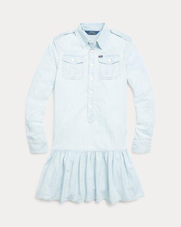 폴로 랄프로렌 걸즈 원피스 Polo Ralph Lauren Cotton Chambray Dress,Faded Indigo Wash