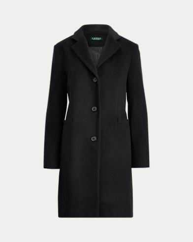 폴로 랄프로렌 3 버튼 울 블랜드 코트 - 블랙 Polo Ralph Lauren 3-Button Wool-Blend Coat, 499440