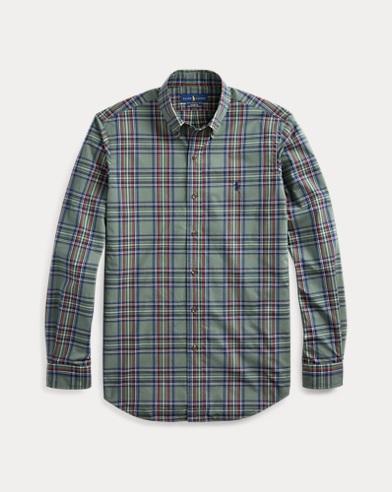 폴로 랄프로렌 Polo Ralph Lauren Classic Fit Plaid Poplin Shirt,3437 Kale Green/Tan Multi