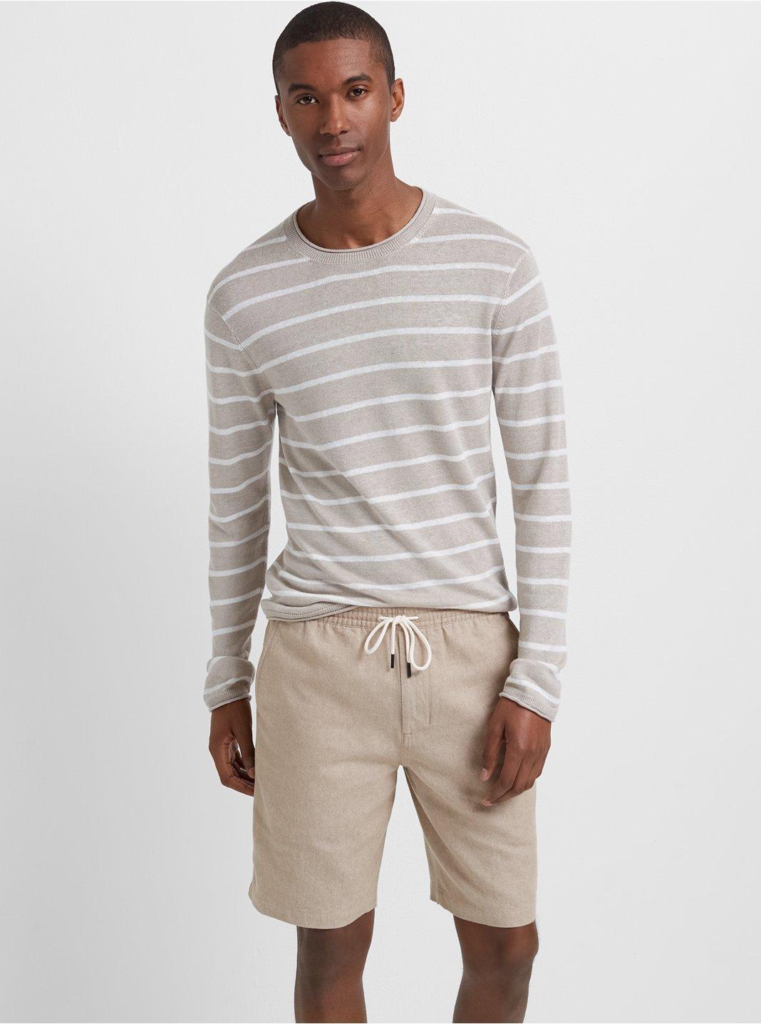클럽 모나코 Club Monaco Linen Rollneck Stripe Sweater,Oatmeal Multi