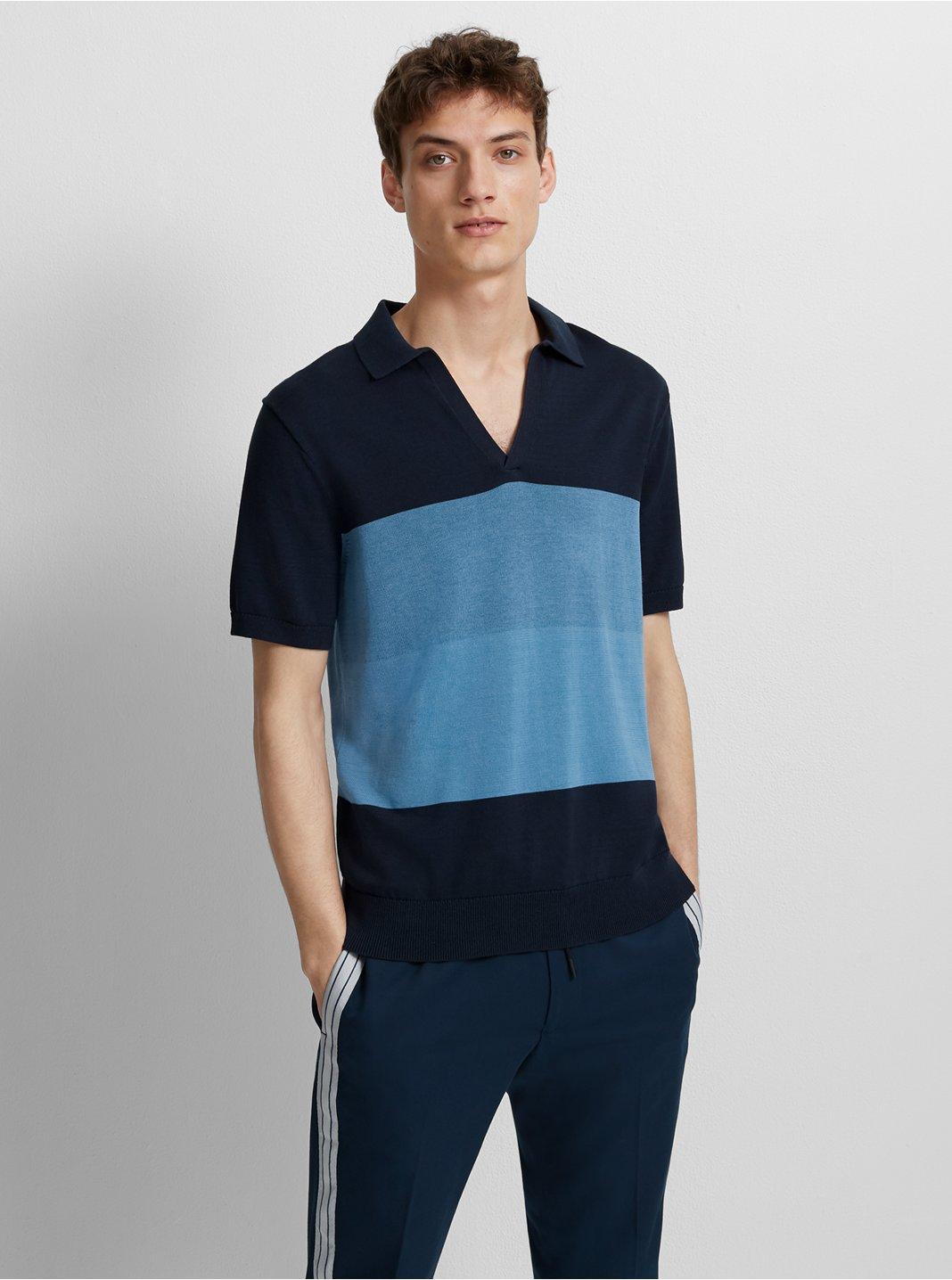 클럽 모나코 Club Monaco Plaited Johnny Collar Sweater,Blue/White