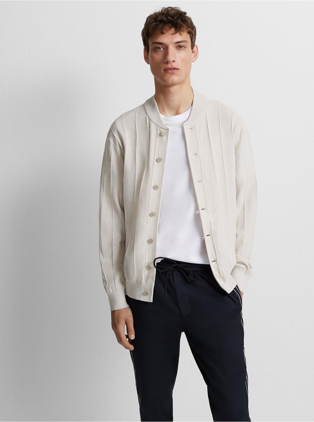 클럽 모나코 Club Monaco Plaited Rib Bomber Sweater,Grey/White