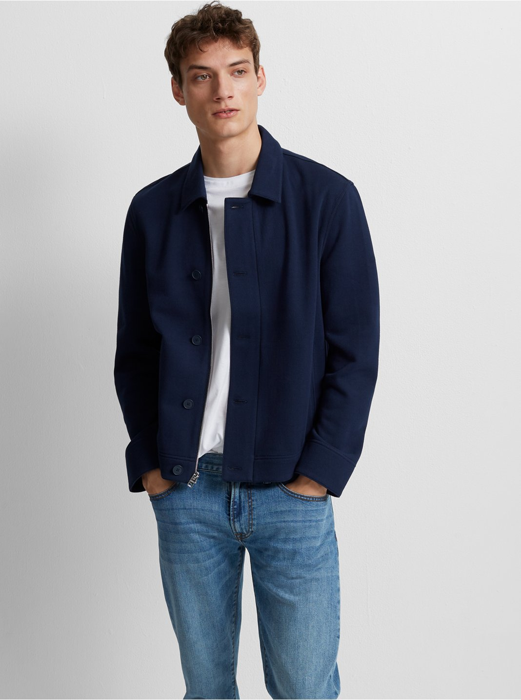 클럽 모나코 맨 집업 자켓 Club Monaco Zip Utility Jacket,Blue