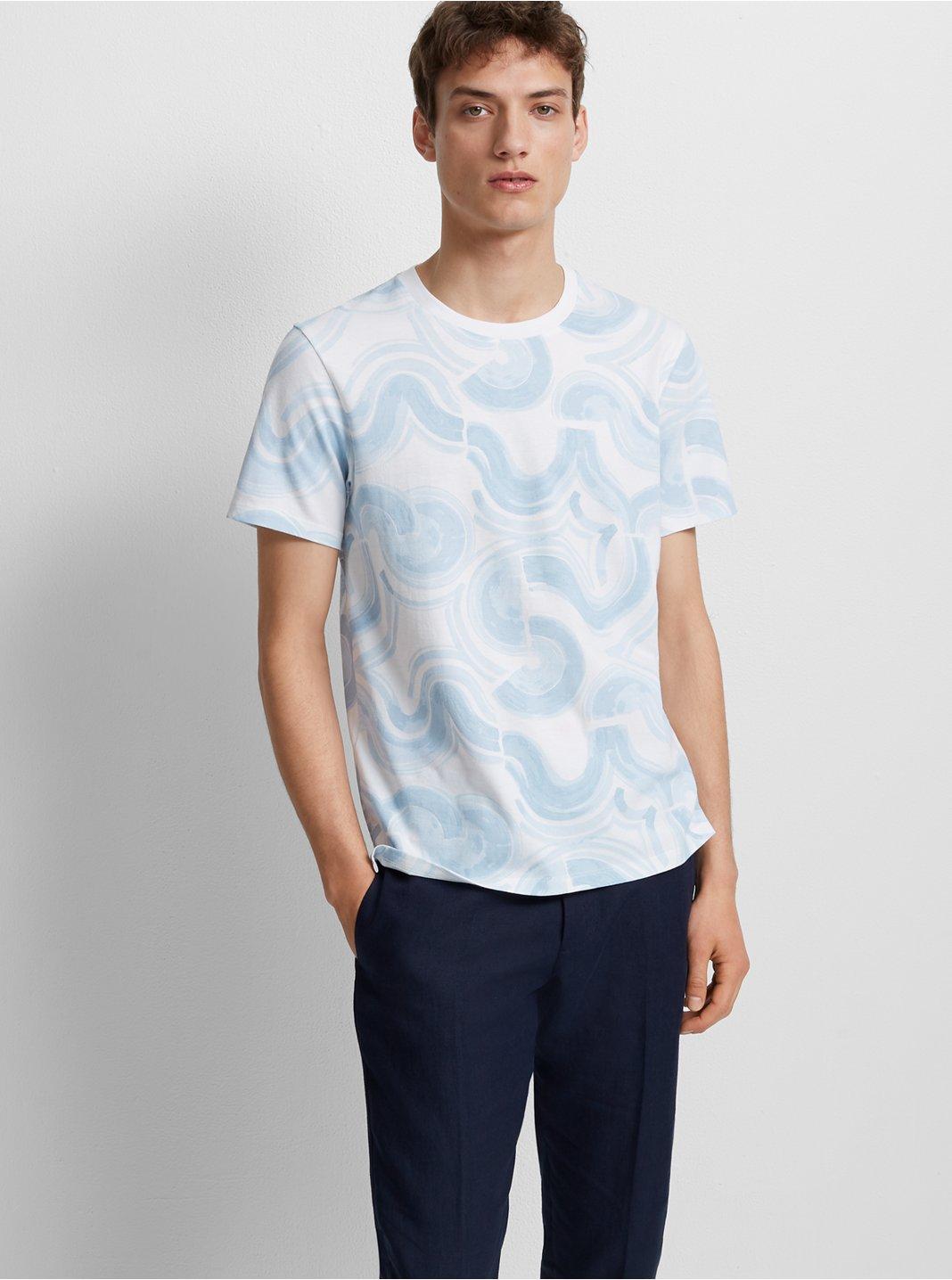 클럽 모나코 맨 웨이브 그래픽 반팔 티셔츠 Club Monaco Wave Graphic Tee,Blue & White