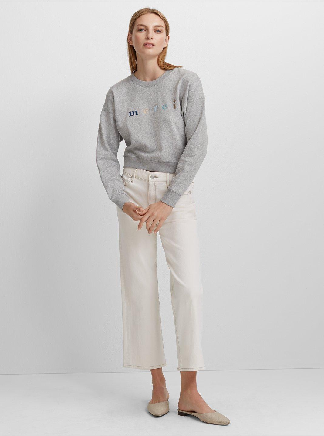 클럽 모나코 Broidie 스웻셔츠 Club Monaco Broidie Sweatshirt,Light Heather Grey