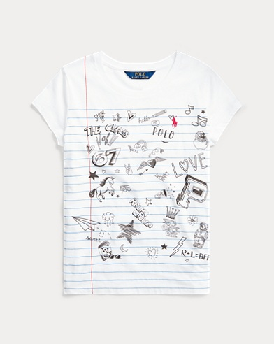 폴로 랄프로렌 걸즈 그래픽 티셔츠 Polo Ralph Lauren Cotton Jersey Graphic Tee,French Navy
