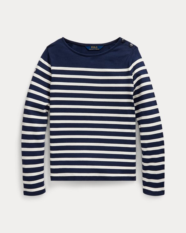 폴로 랄프로렌 걸즈 스트라이프 탑 Polo Ralph Lauren Striped Cotton Jersey Top,French Navy/Cream