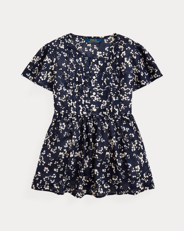 폴로 랄프로렌 걸즈 탑 Polo Ralph Lauren Floral Cotton Dobby Top,Navy Cream