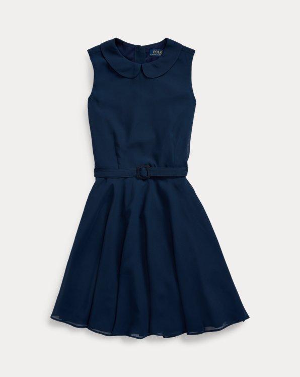 폴로 랄프로렌 걸즈 원피스 Polo Ralph Lauren Belted Chiffon Dress,French Navy