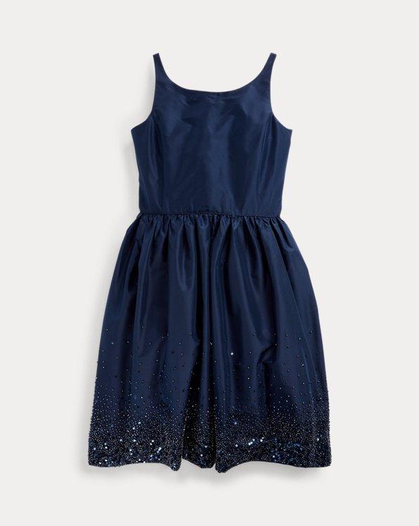 폴로 랄프로렌 걸즈 원피스 Polo Ralph Lauren Beaded Silk Taffeta Dress,French Navy