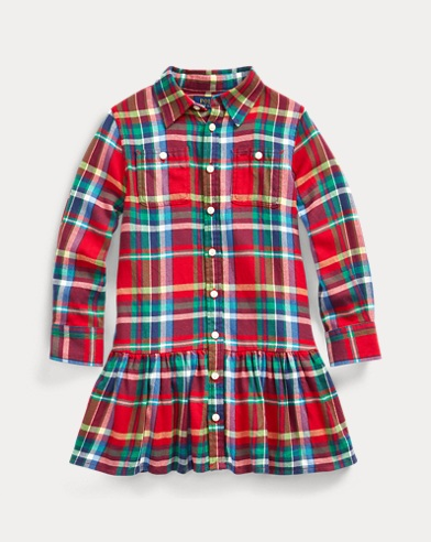 폴로 랄프로렌 여아용 원피스 Polo Ralph Lauren Plaid Cotton Shirtdress,RED/BLUE MULTI