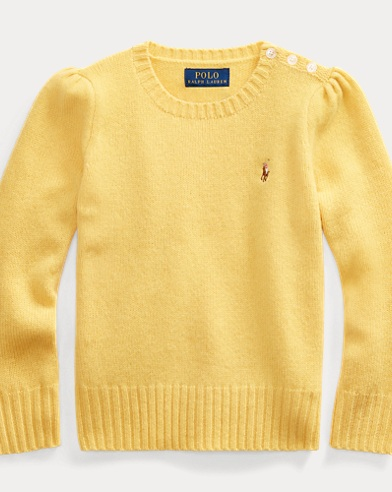 폴로 랄프로렌 여아용 스웨터 Polo Ralph Lauren Wool-Cashmere Crewneck Sweater,Fall Yellow