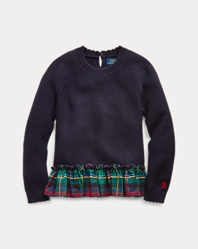 폴로 랄프로렌 여아용 스웨터 Polo Ralph Lauren Plaid Cotton Peplum Sweater,RL Navy