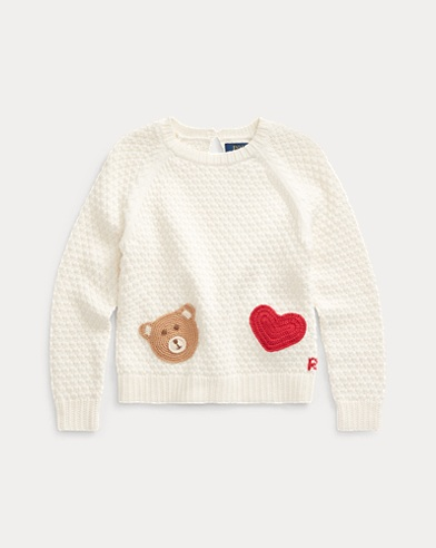 폴로 랄프로렌 여아용 스웨터 Polo Ralph Lauren Bear-Pocket Cotton Sweater,Clubhouse Cream