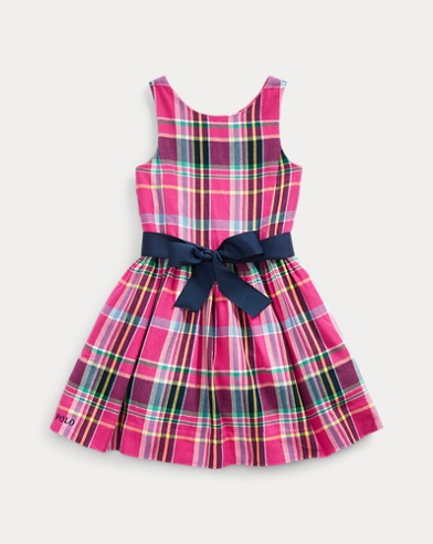 폴로 랄프로렌 여아용 원피스 Polo Ralph Lauren Plaid Cotton Twill Dress,Pink/Blue Multi