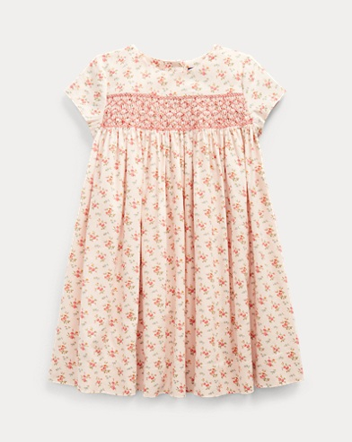 폴로 랄프로렌 여아용 원피스 Polo Ralph Lauren Floral Smocked Cotton Dress,Pink/Red Multi