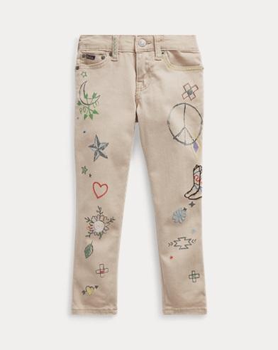 폴로 랄프로렌 여아용 스키니 진 Polo Ralph Lauren Tompkins Skinny Doodle Jean,Rosamund Wash