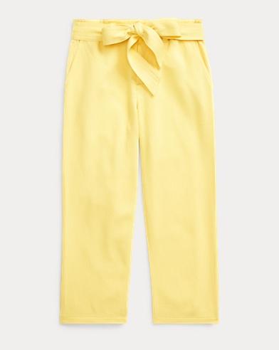 폴로 랄프로렌 여아용 바지 Polo Ralph Lauren Twill Paperbag Pant,Sunfish Yellow