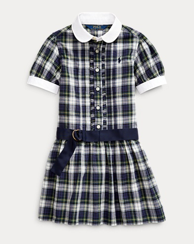 폴로 랄프로렌 여아용 원피스 Polo Ralph Lauren Plaid Cotton Madras Shirtdress,Navy Green Multi