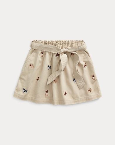 폴로 랄프로렌 Polo Ralph Lauren Dog Cotton Twill Skirt,Classic Khaki